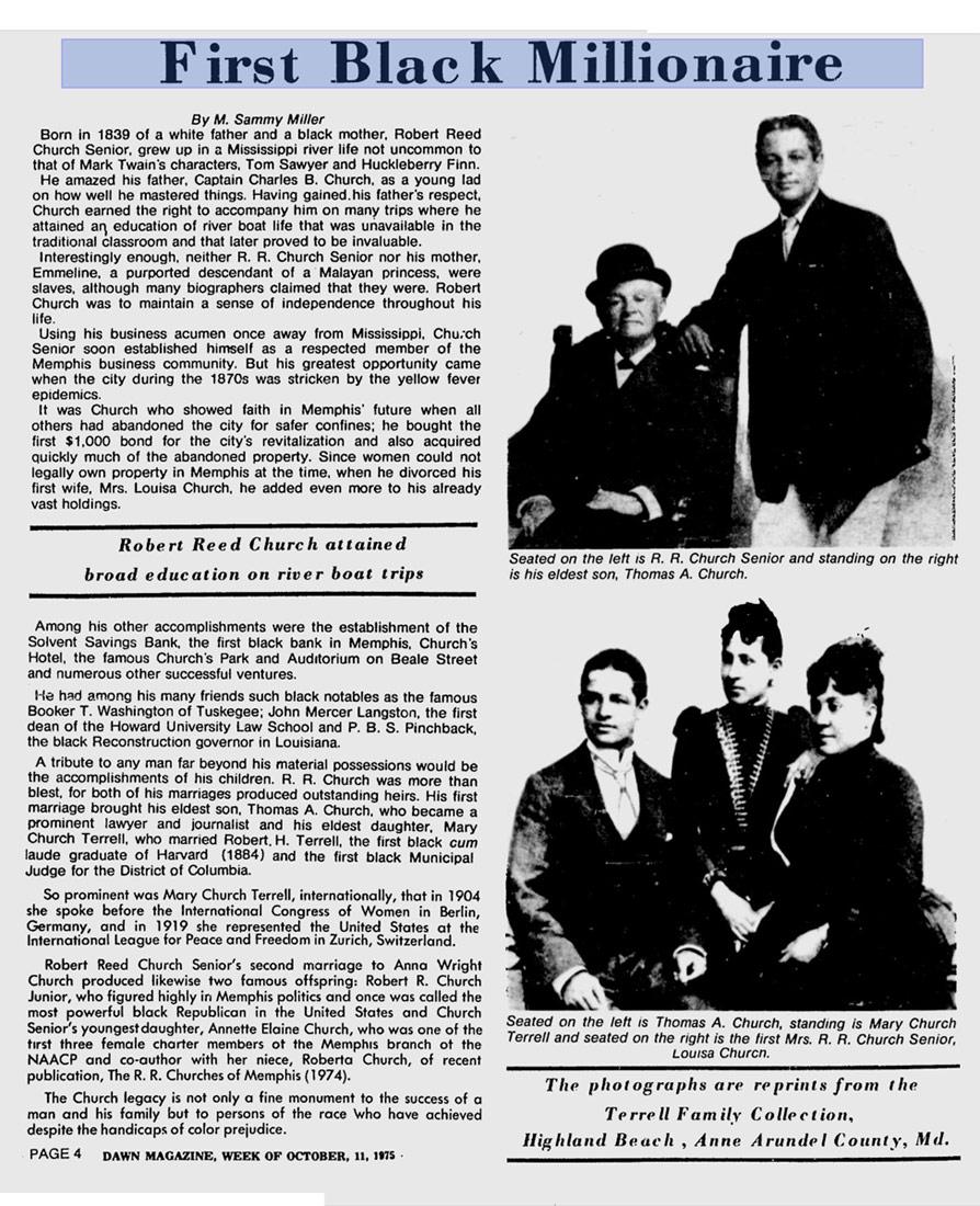 Robert Reed Church Of Memphis The First Black Millionaire